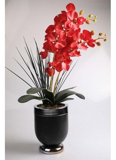 Kibrithane Çiçek Yapay Çiçek Metal Saksı Kırmızı Kumaş Orkide Kc00200819 Renkli